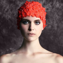 Balneaire Flowers Orange Swimming Cap (30053)