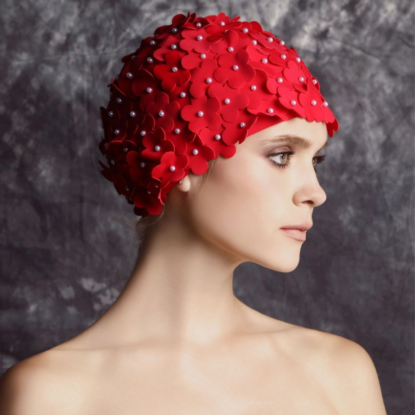 Balneaire Flowers Red Swimming Cap (30053)