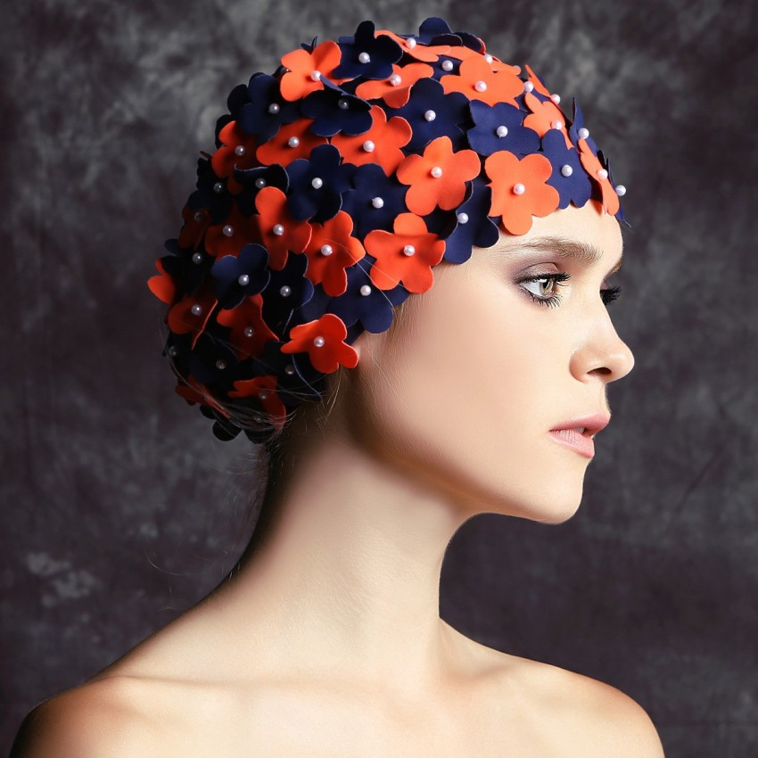 Balneaire Two-Toned 3D Flowers Orange Swimming Cap (30066)