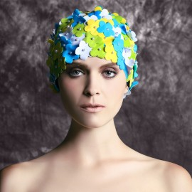 Balneaire Multi-Color 3D Flowers Blue Swimming Cap (30067)