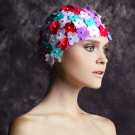 Balneaire Multi-Color 3D Flowers White Swimming Cap (30067)