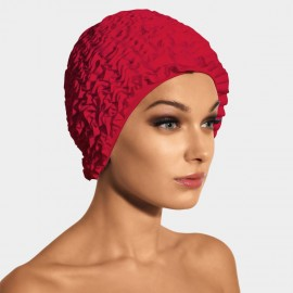 Balneaire Layered Ruffles Red Swimming Cap (30068)