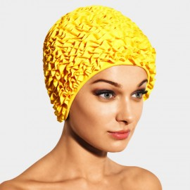 Balneaire Layered Ruffles Yellow Swimming Cap (30068)