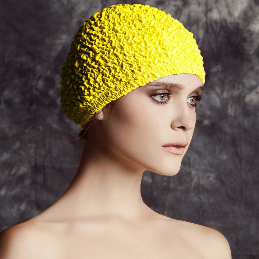 Balneaire Fine Layered Ruffles Yellow Swimming Cap (30069)