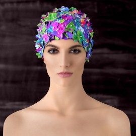 Balneaire Fracture Floral Prints Multi-Color Swimming Cap (30113)