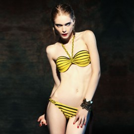 Balneaire Bee Striped V-Neck Strap Yellow Bikini (82041)