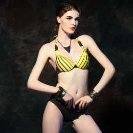 Balneaire Striped Bikini Top & Hipster Yellow Bottom (82042)