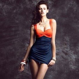 Balneaire Orange Ruched Navy Tankini (82435)