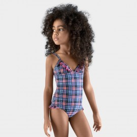 Balneaire Plaid V-Neck Girl Blue One Piece (260006)