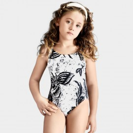 Balneaire Leavy Prints Girl Black One Piece (260014)
