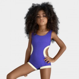 Balneaire Trimmed White Cutout Girl Purple One Piece (260016)
