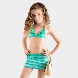 Balneaire Striped Ruffle Girl Green Bikini (280002)
