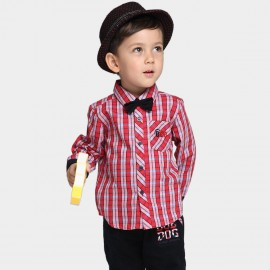 Bobdog Long Sleeve Plaid Red Shirt (B43SC405)