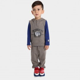 Bobdog Sleeveless Hoodie Grey Set (B43ZZ820)