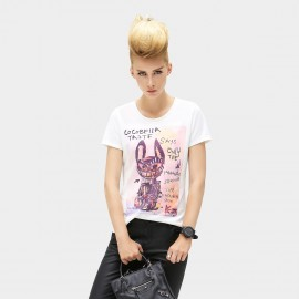 Cocobella Purple Cat White Tee (TE155)