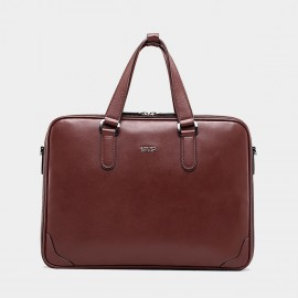 BVP Double Zipper Brown Briefcase (T1014)