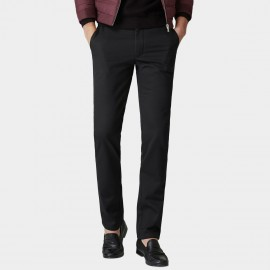 Ozhihe Basic Straight Tailored Fleece Lined Black Trousers (QZH065-D)