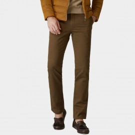 Ozhihe Basic Straight Tailored Fleece Lined Dark Khaki Trousers (QZH065-D)