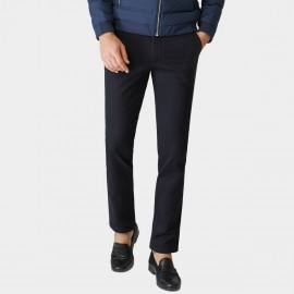 Ozhihe Basic Straight Tailored Fleece Lined Ink Trousers (QZH065-D)