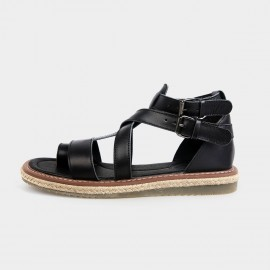 Herilios Gladiator Leather Black Sandals (H3105L17)