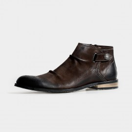 Herilios Leather Side Button Ankle Brown Boots (H3305G12)