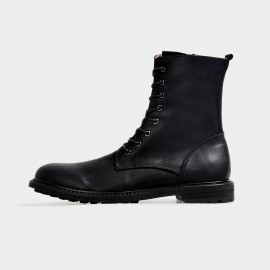 Herilios Rebellious Calf Length Biker Black Boots (H3305G14)