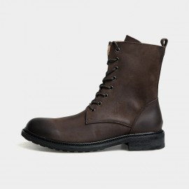 Herilios Rebellious Calf Length Biker Brown Boots (H3305G14)