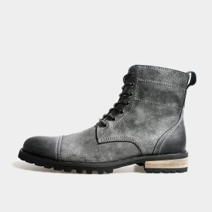 Herilios Suede Lace-Up Ankle Grey Boots With Grey Leather Caps And Heels (H3305G39)