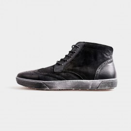 Herilios Grunge Ankle Black Hi-Tops With Ash Soles (H4205G24)