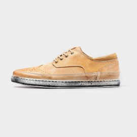 Herilios Vintage Suede Apricot Sneakers With Ash Soles (H4305D27)