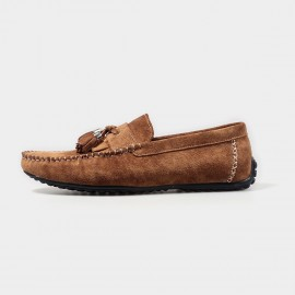 Herilios Suede Tassel Brown Loafers (H4305D33)
