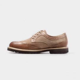 Herilios Suede And Leather Brown Lace Up With Thickened Soles (H4305D34)