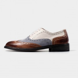 Herilios Leather Oxford Multi-Colour Lace Up With Tanning (H4305D36)