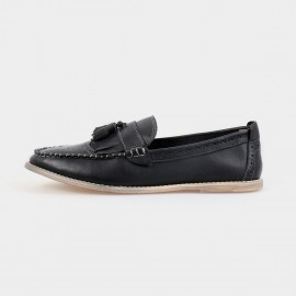 Herilios Pointed Toe Leather Tassel Black Loafers (H4305D49)