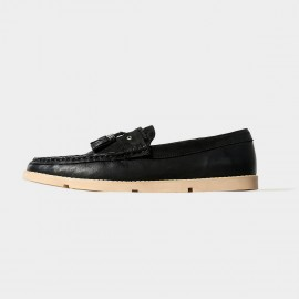 Herilios Simplicity Tassel Black Loafers With Contrasting Soles (H5105D02)