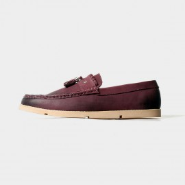 Herilios Simplicity Tassel Red Loafers With Contrasting Soles (H5105D02)