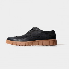 Herilios Classic Oxford Black Lace Up With Elevated Soles (H5105D09)