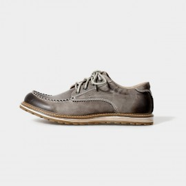 Herilios Street Chic Leather Grey Lace-Up With Contrasting Stitches (H5105D12)