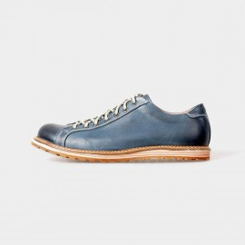 Herilios Bowling Style Leather Blue Lace-Up With Tanning Details (H5105D13)