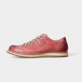 Herilios Bowling Style Leather Red Lace-Up With Tanning Details (H5105D13)