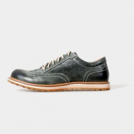 Herilios Street Chic Leather Dark Green Lace-Up With Contrasting Stitches And Hollow Details (H5105D14)