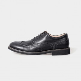 Herilios Yuppies Oxford Leather Black Lace Up With Lined Openings And Tanned Details (H5105D29)