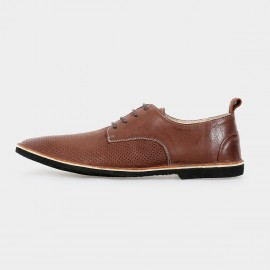 Herilios Breathing Leather Brown Lace-Up With Dotted Patterns (H5105D38)