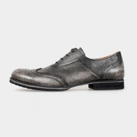 Herilios Leather Longwing Blucher Black Lace-Up Dress Shoes (H5105D40)