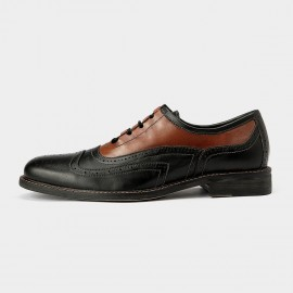 Herilios Vintage Mixing Leather Saddle Black Casual Shoes With Natural Soles (H5305D45)
