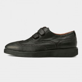 Herilios Leather Oxford Double Strapped Black Casual Shoes With Hollow Details (H5305D51)