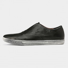 Herilios Grunge Chic Slip On Black Casual Shoes With Ash Soles (H5305D53)