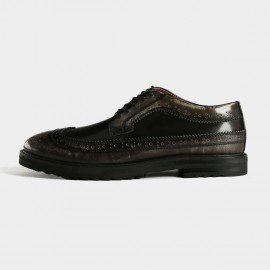 Herilios Rusty Texture Shortwing Black Casual Shoes (H5305D54)