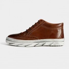 Herilios Vintage Leather Ankle Brown Hi-Tops With Ash Soles (H5305G36)