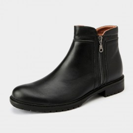 Herilios Leather Ankle Black Boots With Zipper (H5305G43)